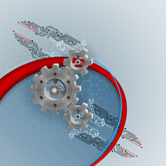 Abstract three dimensions composition with gears connected to electronic circuits; Vector illustration