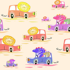 Cute car seamless pattern. Funny lions and dinosaurs drive cars kids illustration