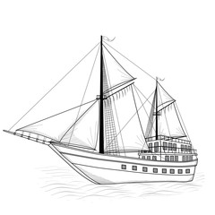 vintage ship with sails and reflection