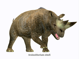 Arsinoitherium Mammal Side Profile with Font -  Arsinoitherium was a herbivorous rhinoceros-like mammal that lived in Africa in the Early Oligocene Period.