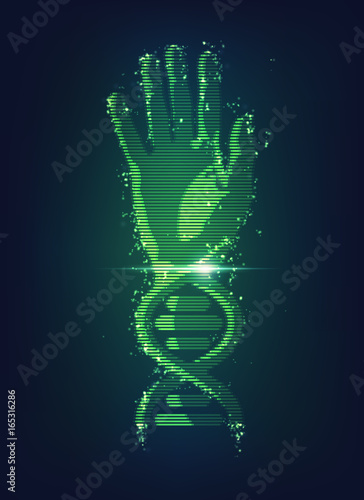 Concept of biometric technology hand combined with dna symbol concept of biometric technology hand combined with dna symbol digital blueprint of body part malvernweather Images
