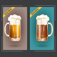 Banner, badge or logo beer mug vector illustration poster, isolated. Beer glass mug foam bubbles over cards. Pub bar beer menu. Good as a template of advertisement.