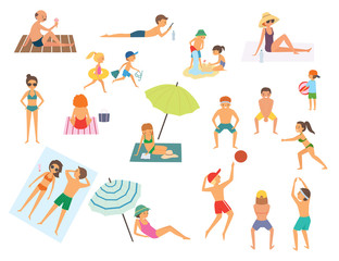 People on the beach. Isolated vector illustration