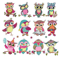 Set of 12 cute colorful cartoon owls