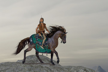 Indian Sky Feather - A North American Indian brave searches the mountains on his horse for big game to bring back to his tribe.