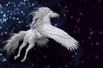 White Pegasus in Sky - Pegasus is a mythical white divine stallion with long flowing mane and tail rises into the sky with powerful wings.