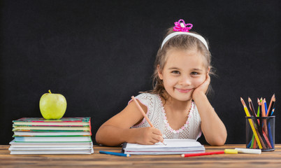 Back To School Concept, Happy Smiling Child Studying