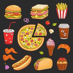 Vector hand drawn illustration of fast food