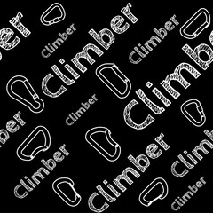 Kinesio tape horizontal seamless pattern or background. Climber chalky carabiner, sport textile vector