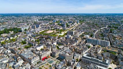 Photo aérienne du centre ville d'Angers, dans le Maine et Loire
