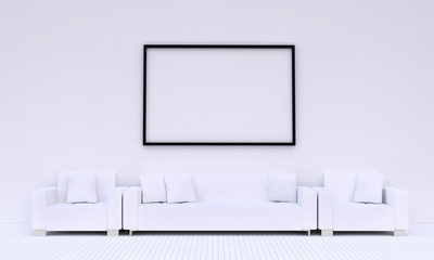 White modern living room with long white sofa, have a big picture frame on the wall, 3D rendering