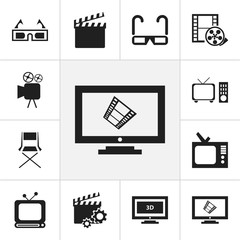 Set Of 12 Editable Movie Icons. Includes Symbols Such As Action, Retro Tv, Broadcast And More. Can Be Used For Web, Mobile, UI And Infographic Design.