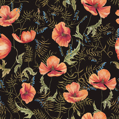 Hand-drawn watercolor floral seamless pattern with the yellow poppy flowers and grass on the black background in vintage style. Natural and vibrant repeated print for textile, wallpaper. Wild blossom