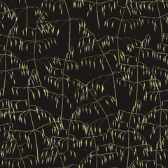 Hand-drawn watercolor botanical seamless pattern with the grass on the black background in vintage style. Natural repeated print for textile, wallpaper. Meadow plants.