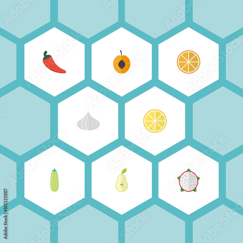 Flat Icons Onion Lime Hot Pepper And Other Vector Elements Set Of