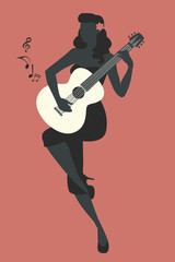 Silhouette of beautiful pin-up girl playing guitar. Vector Illustration