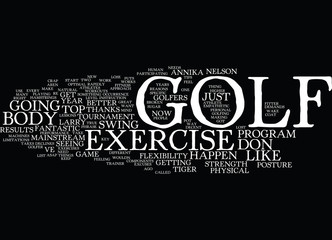 GOLF EXERCISE FOR A GREAT GAME AND NEW BODY IN Text Background Word Cloud Concept