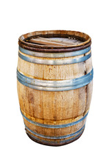 Wooden barrel for wine with steel ring on white background.