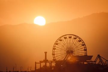 Sunset over Santa Monica pier Wall mural