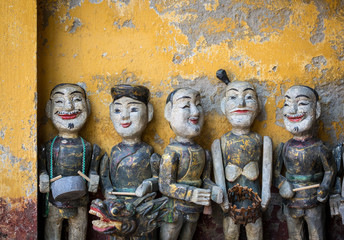 Traditional wooden dolls in Hoi An, Vietnam