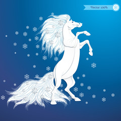 Vector illustration. White rearing horse and snowflakes. Imitation volume paper art. Image can be used for New Year's designs. Year of the Horse. Realistic shadows.