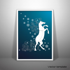 Vector template. Picture frame design. White rearing horse and snowflakes. Imitation volume paper art. Handmade quilling. Image can be used for New Year's designs. Year of the Horse. Realistic shadow