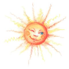 Sonne mit Gesicht lächelt und zwinkert Illustration mit Pastellkreide
