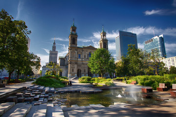Grzybowski Square in Warsaw in a new view with an interesting fountain, the church of the Holy Spirit and Palace of Culture and Science