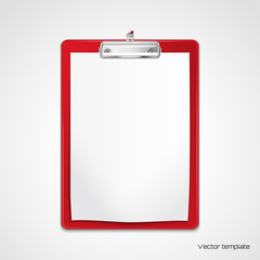 Vector  template. Red clipboard with white sheet of paper pinned to the wall. Realistic shadows.