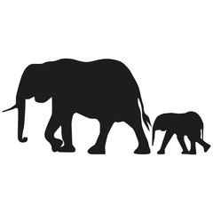 Vector image of an adult elephant and a young elephant. Silhouette of the elephant.