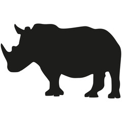 Vector image of a rhinoceros. Silhouette of the rhino.