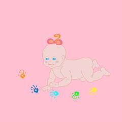 Funny cute baby prints handprints