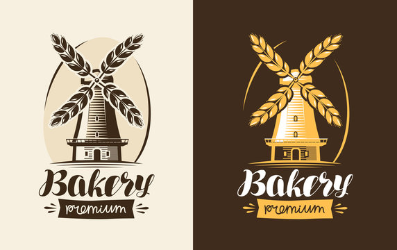 Bakery, bakehouse logo or label. Mill, windmill, wheat, bread icon. Lettering, calligraphy vector illustration