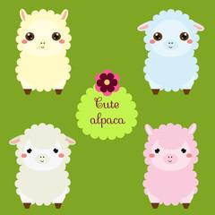 Cute lamas. Cartoon llama characters. Happy kawaii alpaca. Vector illustration for kids and babies fashion. Animals Stickers