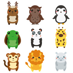 Cute animals. Children style, isolated design elements, vector. Cartoon kawaii wildlife and african animals