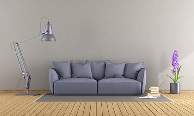Purple sofa in a modern living room