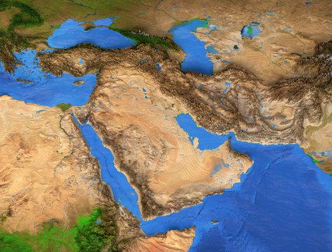 Middle East - Gulf region. High resolution map