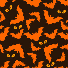 Halloween pattern with bats and eyes