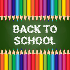 Back To School Poster Colorful Crayons On Chalk Board Background Flat Vector Illustration