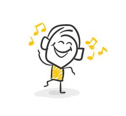 Strichfiguren / Strichmännchen: Musik, hören, tanzen. (Nr. 38)