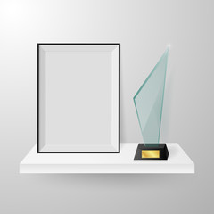 Faceted crystal glass winner trophy and photo frame on shelf realistic side view composition vector.