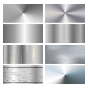 Metal texture background with rivets. Metal surface finishing texture realistic icons collection with satin brushed and polish samples.