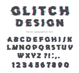 Glitch font design. Isolated on white abc letters and numbers.