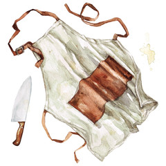 Apron and knife. Watercolor Illustration. - fototapety na wymiar