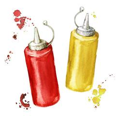 Ketchup and mustard. Watercolor Illustration.