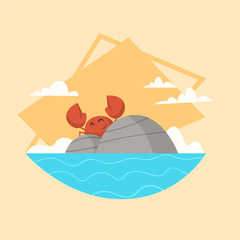 Summer Vacation Sea Landscape Icon Beautiful Island Seascape Seaside Holiday Flat Vector Illustration