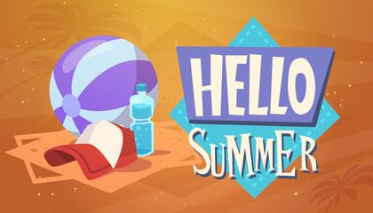Hello Summer Vacation Sea Travel Retro Banner Seaside Holiday Flat Vector Illustration