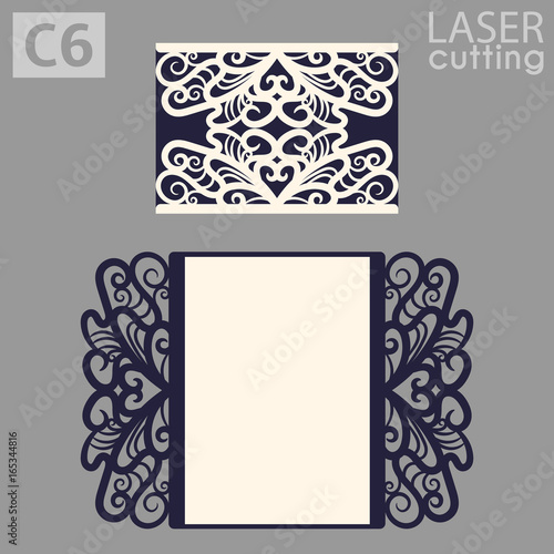 laser cut wedding invitation card template vector die cut paper card with lace pattern