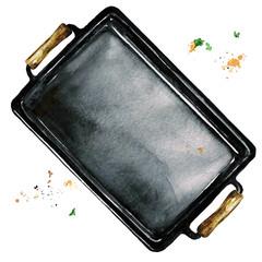 Baking sheet. Watercolor Illustration.