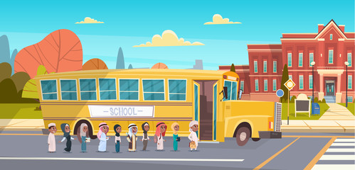 Group Of Arab School Children Walking In Yellow Bus Outdoors Muslim Pupils Vector Illustration